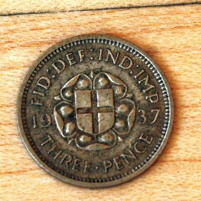 1937 Great Britain 3 Pence Silver