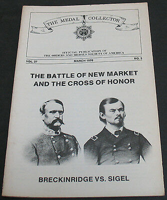 Vintage - The Medal Collector 1976 Battle Of New Market And The Cross Of Honor