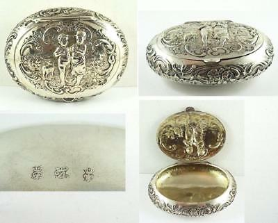 Antique German .800 Fine Hanau Silver Repousse Oval Box by Georg Roth & Co.