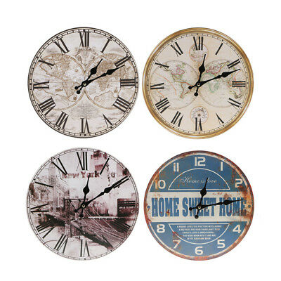 Vintage Wooden Round Wall Clock Antique Shabby Chic Home Kitchen Decor