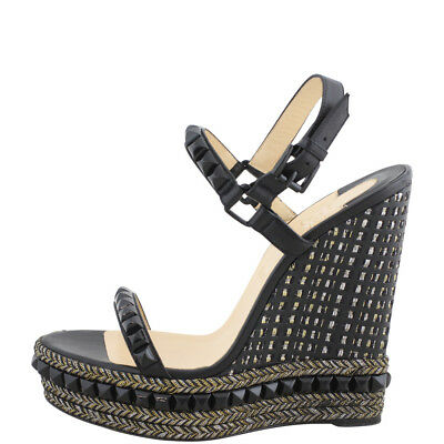 b488a0f09a03 CHRISTIAN LOUBOUTIN CATACLOU 140 Black Leather Studded Espadrille ...