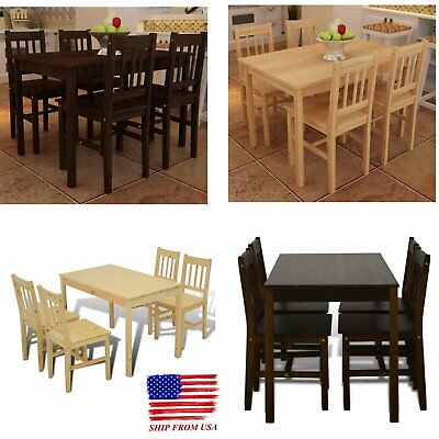 5pcs Wooden Dining Set Breakfast Furniture Kitchen Table and 4 Chairs US Stock