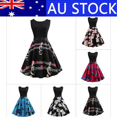 Womens 50s 60s Vintage Rockabilly Pinup Swing Retro Cocktail Party Formal Dress