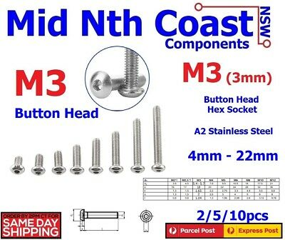 M3 x 4-22mm Hex Socket Button Head Screws / Bolts 304 Stainless Steel M3=(3mm)