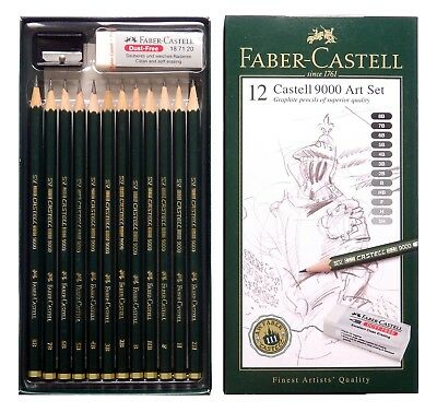 Faber Castell 9000 Graphite Pencils Art Set Drawing Sketch 12 Hardness Grades