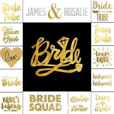 1X Team Bride Squad Tribe Temporary Tattoos Gold Funky Hen Party Night Wedding