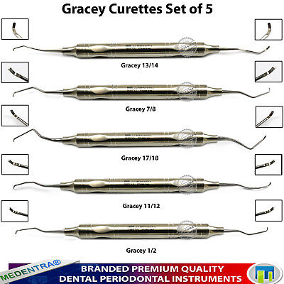 5Pcs Dental Periodontal Scaler Gracey Curettes Perio Root Canal Procedure Lab CE