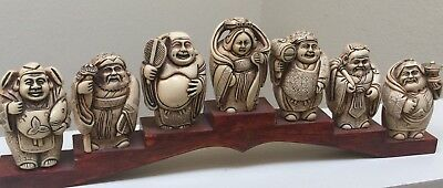 Antique Japanese 7 Lucky Gods Statues