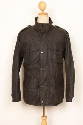 Mens BARBOUR Trooper WAXED Jacket Olive Size Medium