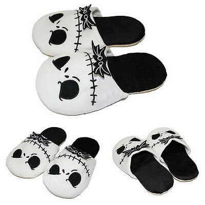 The Nightmare Before Christmas Jack Skellington Slippers Adult Plush Warm shoes#