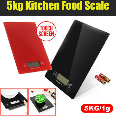 5kg 1g Electronic Digital Glass Kitchen PortableScale Food Weight Black Red