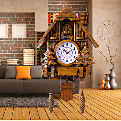 Vintage Cuckoo Clock Forest Quartz Swing Wall Alarm Clock Handmade Room Decor US