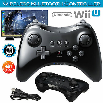 Bluetooth Wireless Pro Controller Gamepad Remote for Nintendo Wii U Black/W New