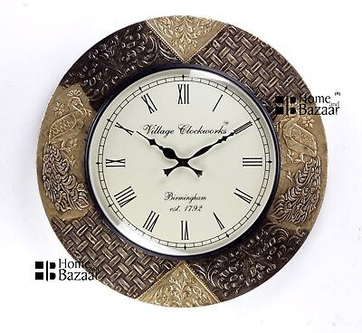 Vintage Home Decor Antique Look Brass Engraving Work Wall Clock Ethnic India 181