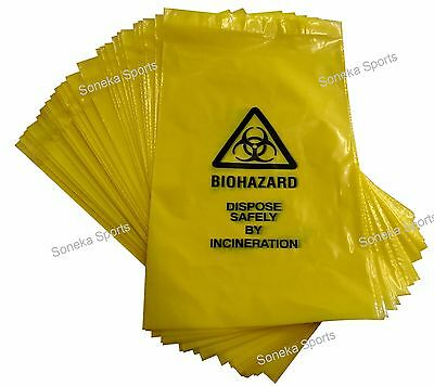 Yellow Clinical Waste Bio Hazard Disposal Incineration Bags 20cm x 35cm