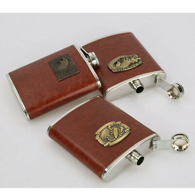 8oz Hip Flask Stainless Steel & Leather Pocket Drink Whisky Flask Brown