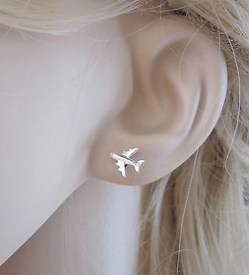 925 sterling silver 8x10mm AEROPLANE AIRPLANE PLANE stud earrings