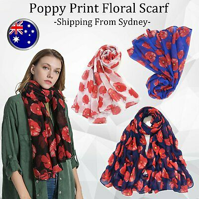 Women Ladies Poppy Print Floral Scarf Remembrance Poppies Scarves Wrap Shawl AU