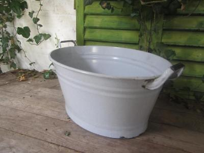 Vintage Tin Bath Enamel Bowl Grey Enameled Original  Free Postage Cool Beer Ice