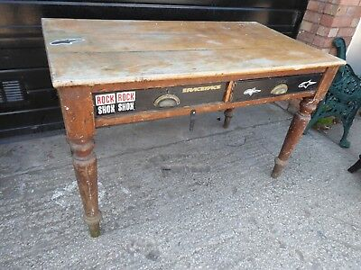 Antique 2 Full Depth Drawer Kitchen, Dining, Farmhouse, Table For Restoration.