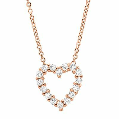 1/2 ct Created White Sapphire Open Heart Pendant in 14K Rose Gold On Silver