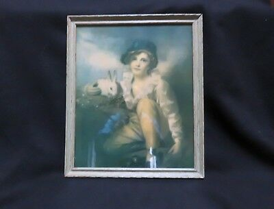 """Boy with Rabbit"" Vintage Print by Sir Henry Raeburn. Old Wood Frame. Wavy Glass"