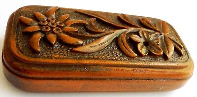 Beautiful Antique Hand Carved Wooden Vesta Case.