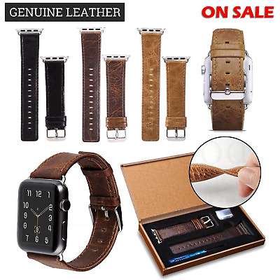 Leather Apple Watch Replacement Band Strap Wrist Watch Series 1 2 3 / 38 42mm