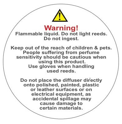 500 LIQUID DIFFUSER Warning Labels safety labels Stickers  38mm  Strong  Adhesive