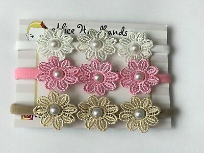 Flower Nylon Bands Fit All Sizes Baby Girls Christening Bow Headband Hair +Lots
