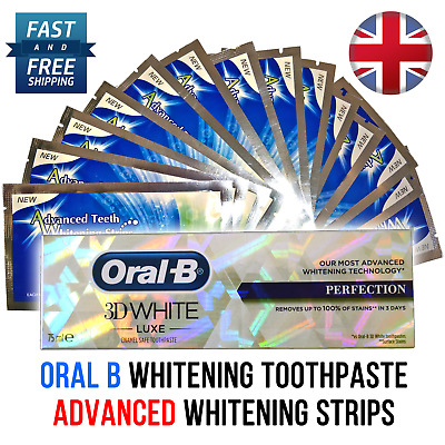 Advanced Teeth Whitening Strips / 2-28 Day Supply / Oral B - Toothpaste Option *