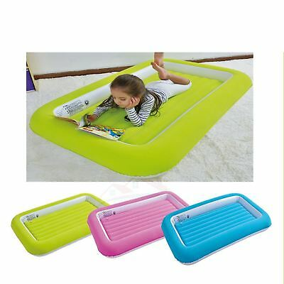 Childrens Kids Inflatable Safety Flocked Kiddy Air Bed Toddlers Camping New