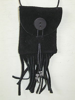 Mb-11 Black  Suede Leather  Medicine Bag W/ Leather Button Free Shipping In Usa