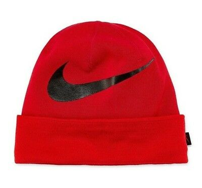 online store 1449c 9e581 Nike Dri Fit Mens Beanie Hat Cap Swoosh University Red Black One Size NWT