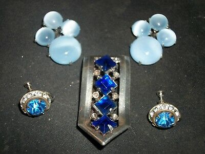 Antique Early Vintage Jewelry Lot Extra Nice Blue Glass Dress Clips Earrings