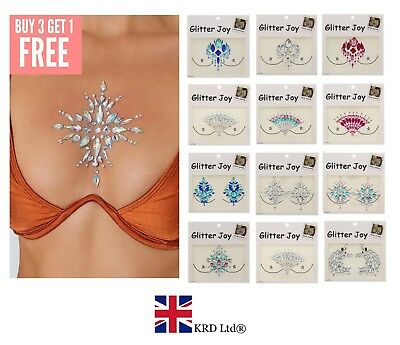 ADHESIVE BODY GEMS Glitter Jewel Tattoo Wedding Festival Rave Party Face Make Up