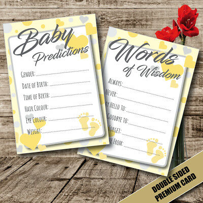 Baby Shower Games - Prediction & Advice Cards Gender Reveal Wisdom Mum To Be 32