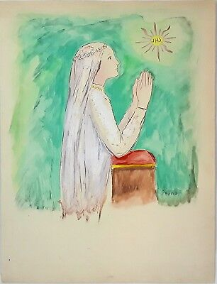Virgin Mary. Watercolor On Paper. Signed Pruna. Mid-Century Xx.