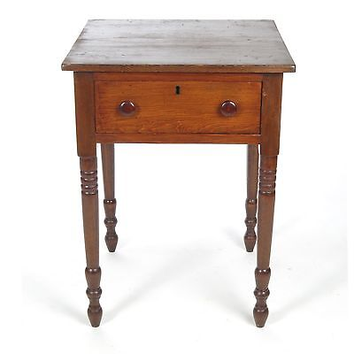 Antique side table one drawer stand small work turned legs American 19th c