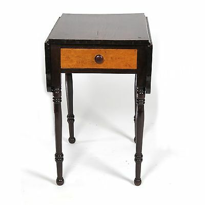 Antique side table drop leaf birds eye maple work stand small 19th c 1 drawer