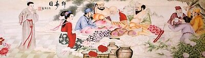 100% ORIGINAL ASIA ART CHINESE FIGURE WATERCOLOR PAINTING-Antique EIght Immortal