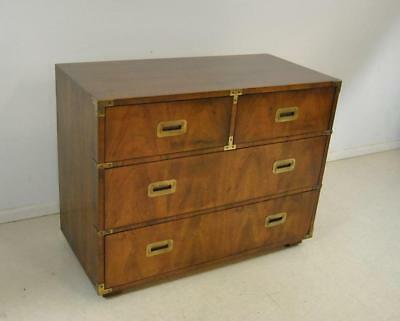 Mahogany Campaign Style 4 Drawer Chest By Henredon Furniture