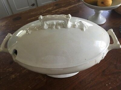 """15x9x6"""" Tureen w/Lid, Old, Patina, Cracks & Chips.  Beautiful Character/Planter!"""