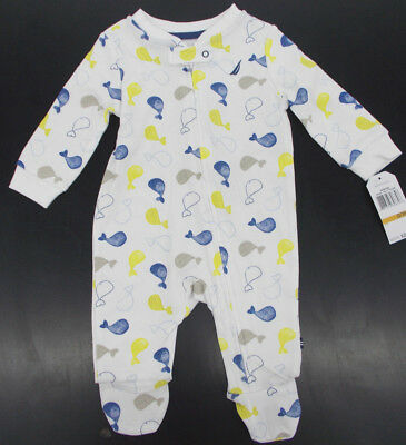 Infant Boys Nautica $28 White Sleeper w/ Whales Size 0/3 Months - 6/9 Months