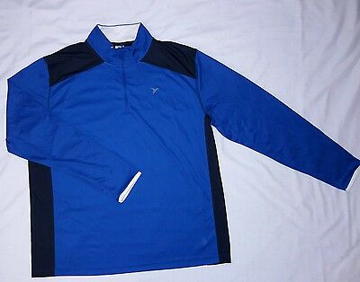 Old Navy Active Men/'s LARGE Long Sleeve Go-Dry Pullover Shirt BLUE BLACK #211717