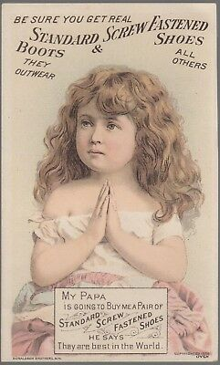 Victorian Trade Card-Standard Screw Fastened Shoes-Girl with Hands in Prayer