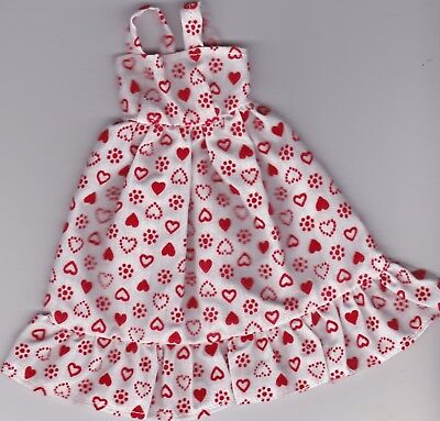 VALENTINES-Doll Clothes-Red/White Hearts Sundress fits Barbie Doll-Homemade SD4