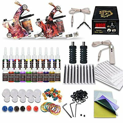 Tattoo Kit With 2 Machines Set Professional Guns 20 color Ink Power Supply NEW