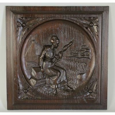 Antique French Carved Chestnut Wood Brittany Salvaged Decorative Panel of Woman