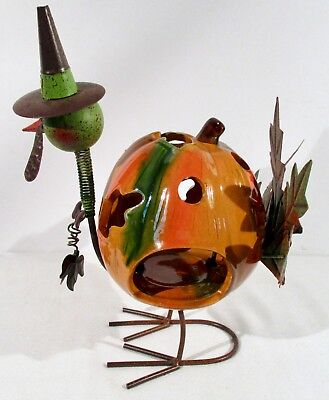 Whimsical Iron and Ceramic Pumpkin Turkey Figure with Springy Neck Candle Holder